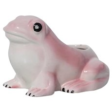 1970s Vintage Pink and White Hobnail Frog Planter in the style of Jean Roger