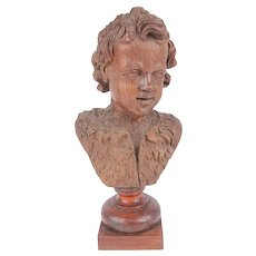 A Antique Flemish Wooden Bust of a Young Boy, 17th Century