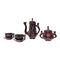 19th Century, Antique American Folk Art, Zoomorphic Coffee Set, Earthenware, Found in NY