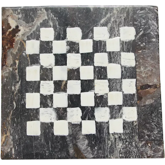 Mid-Century Folk Art French Checkerboard in Fossilized Marble