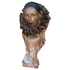 """1890s French Fairground Haunted Show Bust of a Scary Clown, 25.19"""", Earthenware"""