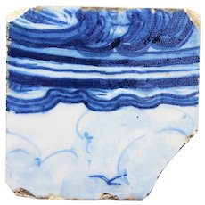 18th Century Antique Portuguese Tile depicting a Seagull in the Sky