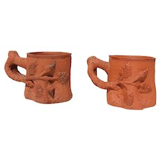 1900s Antique French Provincial Hand-Made Faux Bois Mugs, Earthenware