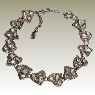 Dramatic Vintage Yves Saint Laurent YSL Necklace with Textured Hearts & Large Rhinestones