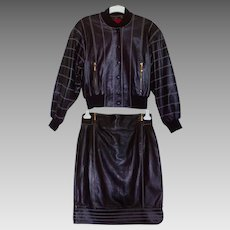 Vintage 80s Escada Black Nappa Leather Bomber Biker Aviator Jacket & Skirt Suit
