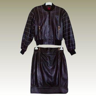 Vintage 80s Escada Black Nappa Leather Bomber Biker Aviator Jacket & Skirt Suit