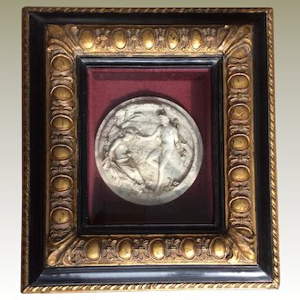 Antique 19C (1848) English Framed Marble Relief Plaque Love Scene