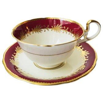 Aynsley Rutland Burgundy Teacup and Saucer Pattern 8013
