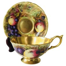 Aynsley Fruit Orchard Gold Tea Cup and Saucer Signed N. Brunt