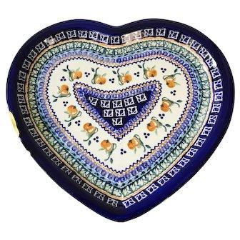 """Boleslawiec Zaklady Polish 11"""" Large Heart Shaped Platter Apples & Pears"""