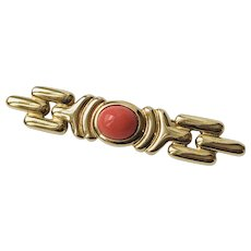 Vintage Givenchy Brooch Pin Coral Lucite Links Signed Gold tone