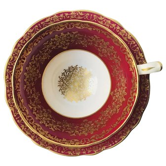 Vintage Hammersley Red Gold Filigree Tea Cup and Saucer Pattern 4419