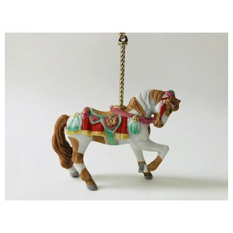 Lenox 1989 Carousel Brown and White Horse Pony Christmas Tree Ornament