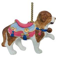 Lenox 1989 Carousel St Bernard Dog Christmas Tree Holiday Ornament