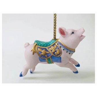 Lenox 1989 Pink Pig Piglet Carousel Christmas Ornament