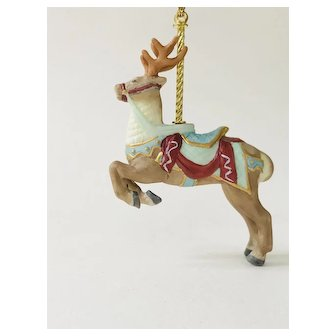 Lenox 1989 Carousel Reindeer Christmas Tree Ornament