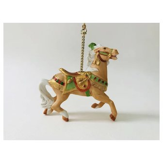 Lenox 1989 Carousel Brown Tan Horse White tail Green Gold bridle Christmas Tree Ornament