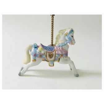 Lenox 1989 Carousel White Horse Pony Pink Bow  Christmas Tree Ornament