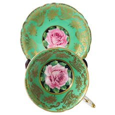 Paragon Green Tea cup and Saucer with Pink Cabbage Rose, Pattern A1695
