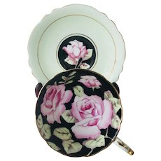 Paragon Large Pink Cabbage Roses on Black Tea Cup and Saucer Green exterior A675/8