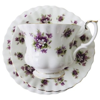 Royal Albert Sweet Violets Tea Trio, Tea cup, Saucer ,Bread and Butter Plate
