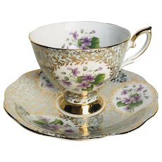 Royal Standard Purple Violets cup and saucer with gold filigree