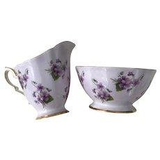 Royal Standard Purple Violets Sugar Bowl and Creamer