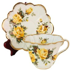Rosina Yellow Roses Tea cup and saucer Pattern 5329