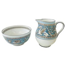 Wedgwood Florentine Turquoise Sugar Bowl and Creamer Early Mark 1930s Pattern W2714