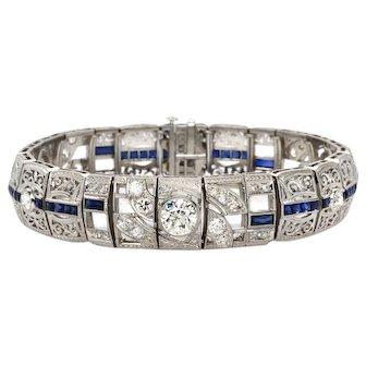 Vintage Platinum, Sapphire and Diamond Bracelet