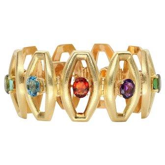 18k Yellow Gold Multi-color Gemstone Bracelet