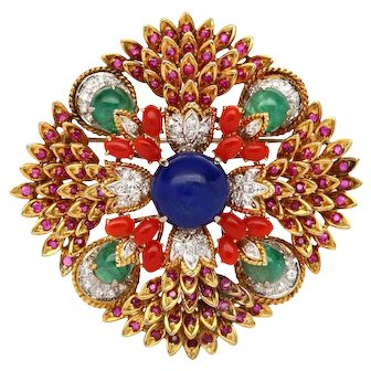 18k Yellow Gold 1960's Multi-Colored Gemstone Brooch