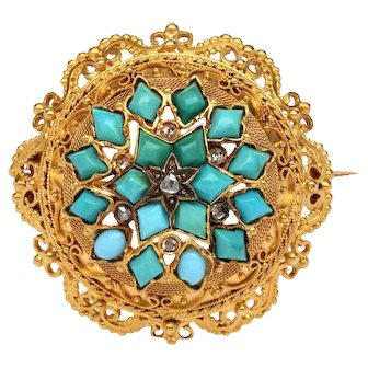 14k Yellow Gold Victorian Era Turquoise and Diamond Brooch