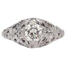 18k White Gold and Diamond Filigree Engagement Ring