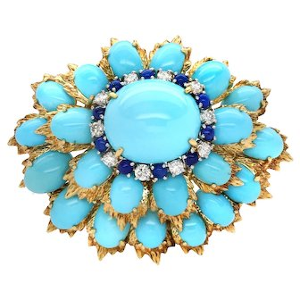 18k Yellow Gold Fine Hollywood Regency Turquoise, Lapis, and Diamond Brooch