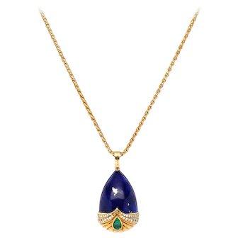 18k Yellow Gold Lapis, Emerald, and Diamond Drop Pendant -- Hallmarked Kutchinsky