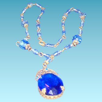 Beautiful Cobalt Azec Glass Necklass