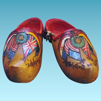 World War One Victory commemorative hand carved clogs