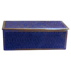 Art Nouveau Brass and Enamel Stamp Box