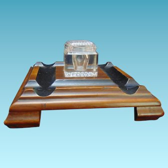 Art and Crafts Wood and Cut glass Inkwell