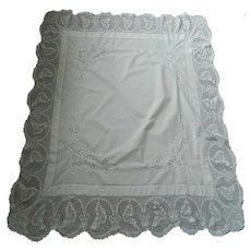 1920's White Irish linen tablecloth with crochet lace & embroidery