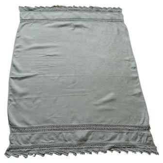 Large white Irish linen damask towel with crochet lace trim