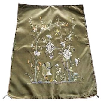 Antique Chinese hand embroidered silk panel or cushion front