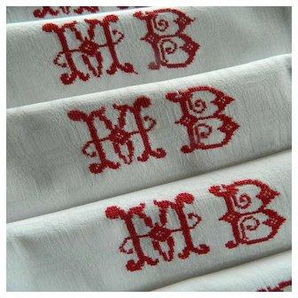 "Set eight large French linen damask napkins - embroidered monogram ""M.B"""