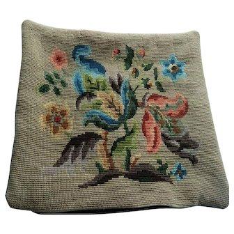 English Country House tapestry & velvet cushion cover - Jacobean design