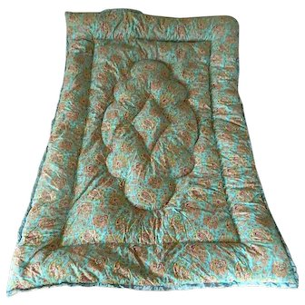 Paisley & roses feather filled 1940's cotton eiderdown comforter quilt