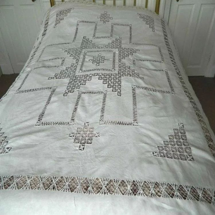 Click To Expand · Snow White Irish Linen Bedspread With Tenerife Needlelace  And Drawnthread Work