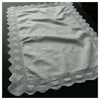 White linen damask Butlers tray cloth - crochet lace border