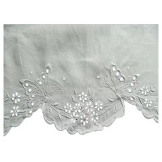 Early 1900's white Irish linen sheet with whitework embroidery Butterflies