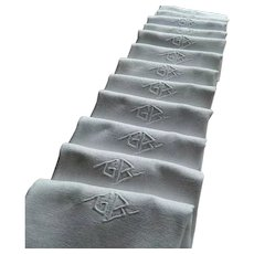 "Set of 12 French Art Deco linen damask table napkins with hand embroidered monogram ""G.B""."